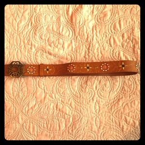 Brown Fake Leather Belt w/ Embroidered Pattern